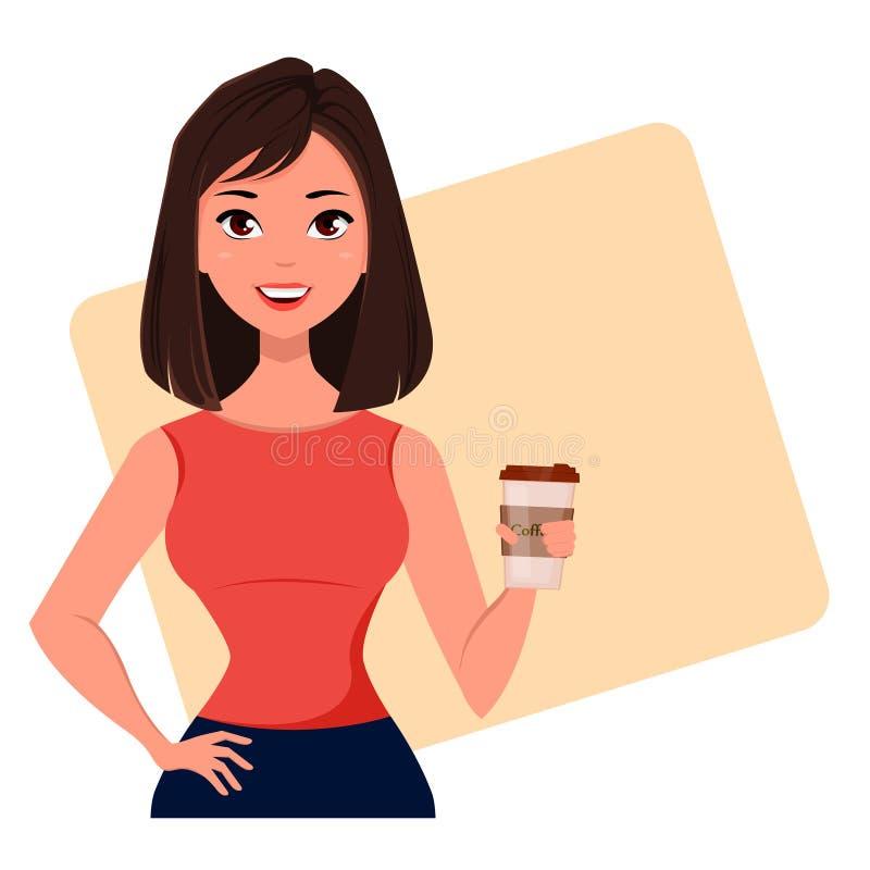 Jonge beeldverhaalonderneemster met koffie, die een vrije kledingsstijl draagt royalty-vrije illustratie