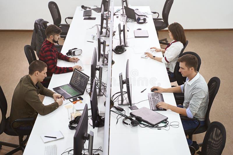 Jonge beroeps die in modern bureau werken De groep ontwikkelaars of programmeurs die bij bureaus zitten concentreerde zich op com royalty-vrije stock afbeeldingen