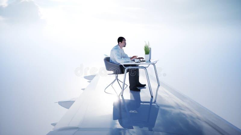 Jonge bezige zakenman die aan het vliegende vliegtuig werken Afrikaans mannetje die het scherm van laptop op het bureau onderzoek stock illustratie