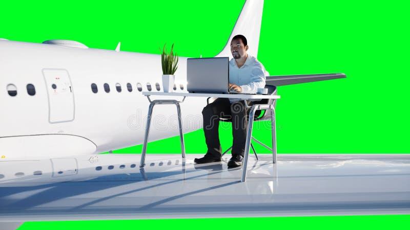 Jonge bezige zakenman die aan het vliegende vliegtuig werken Afrikaans mannetje die het scherm van laptop op het bureau onderzoek royalty-vrije illustratie