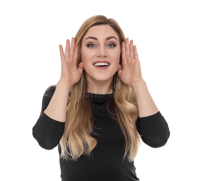 Jonge blonde vrouw het luisteren roddel dicht omhoog royalty-vrije stock foto's