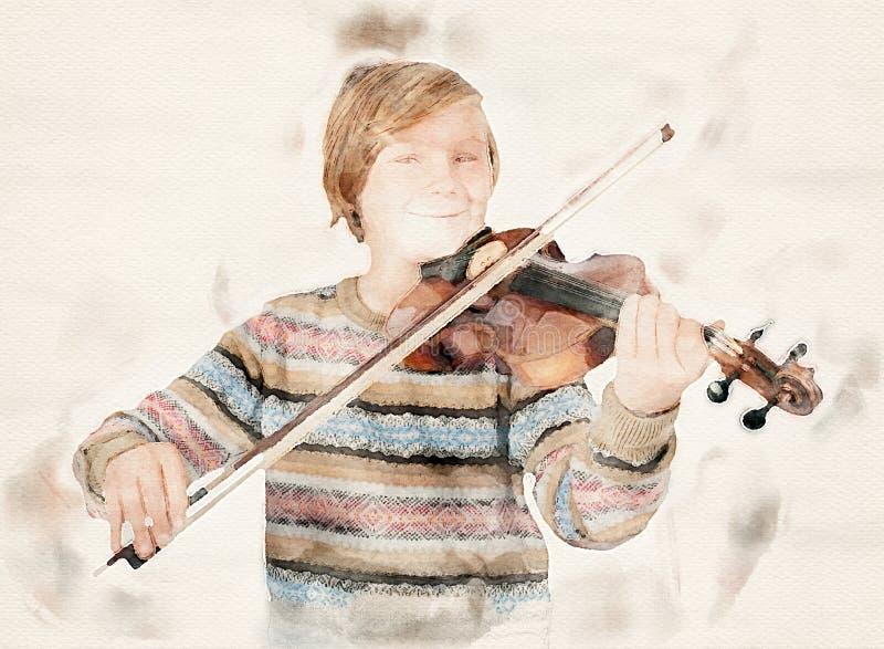 Jonge blondejongen met een viool royalty-vrije illustratie