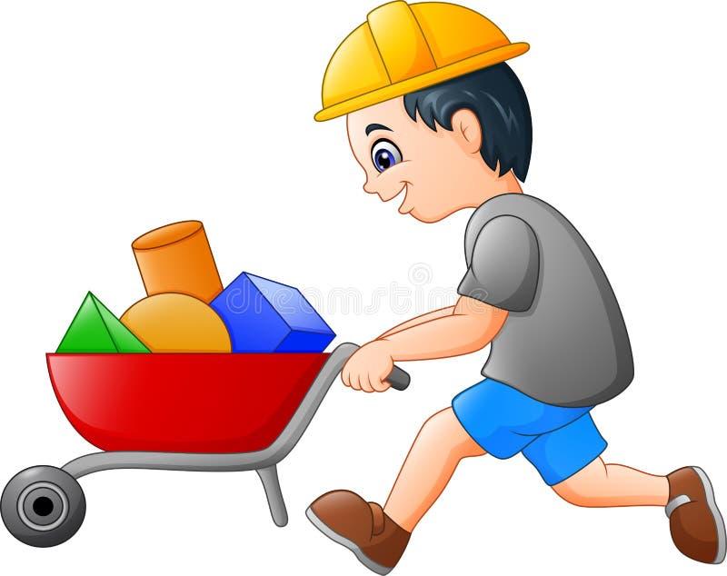 Jonge bouwersarbeider die een kruiwagen duwen stock illustratie