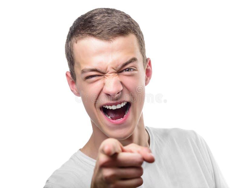 Jonge boze mens stock foto