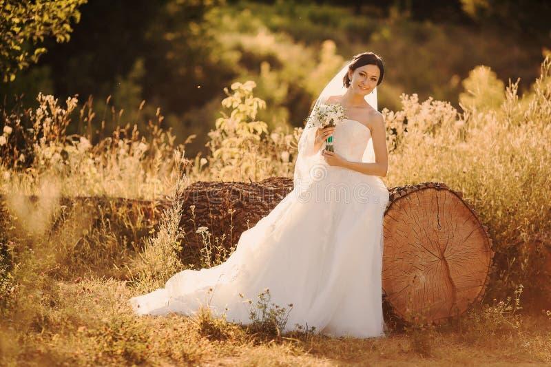 Jonge bruid buiten royalty-vrije stock foto