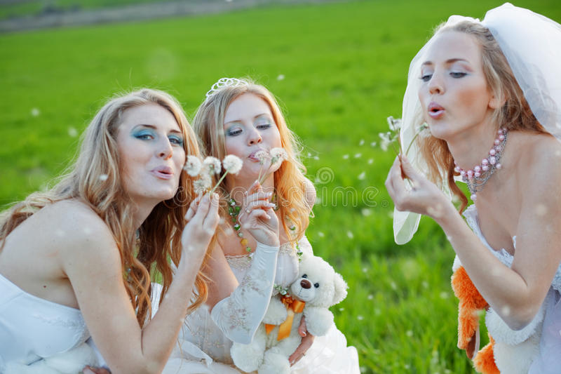 Jonge bruiden stock foto's