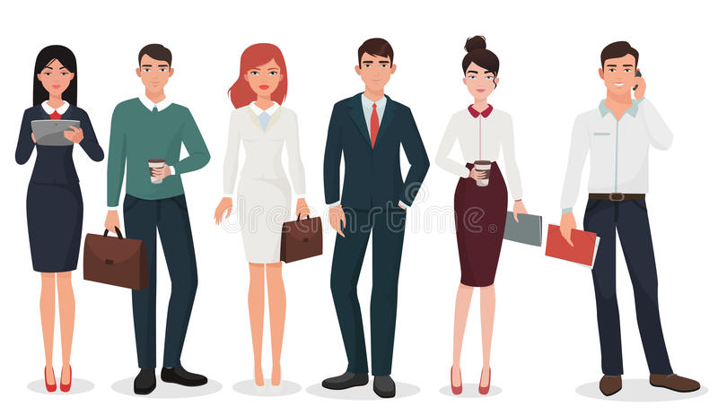 Jonge Bureau gedetailleerde bedrijfsmensen met koffers en gadgetsinzameling royalty-vrije illustratie