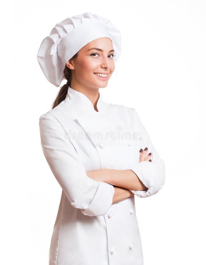 Jonge chef-kokvrouw stock afbeeldingen