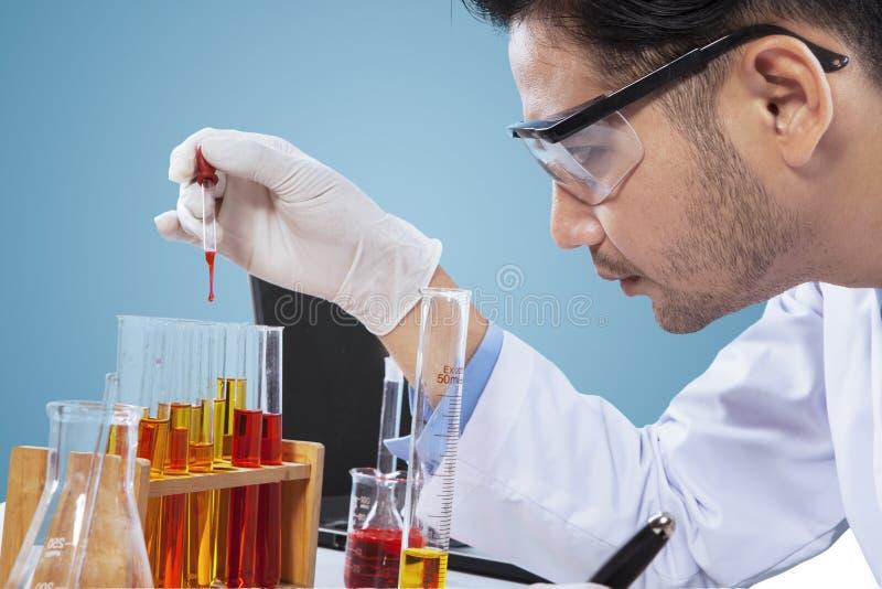 Jonge chemicus die chemische vloeistof bekijken royalty-vrije stock afbeeldingen