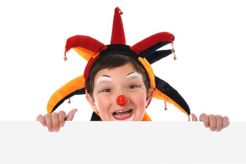 Jonge Clown met Leeg Teken royalty-vrije stock afbeeldingen