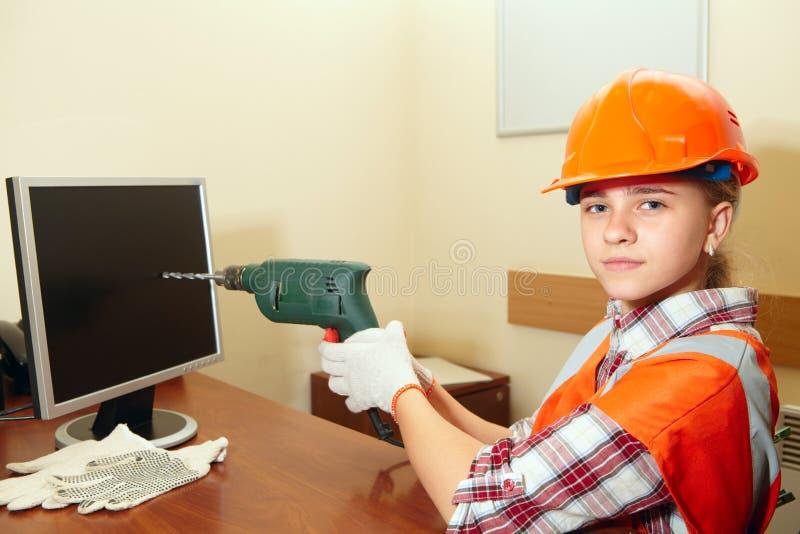 Jonge contractant in het bureau woede stock afbeeldingen