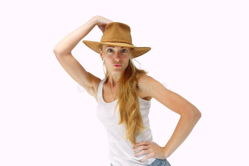 Jonge dame in cowboyhoed stock afbeelding