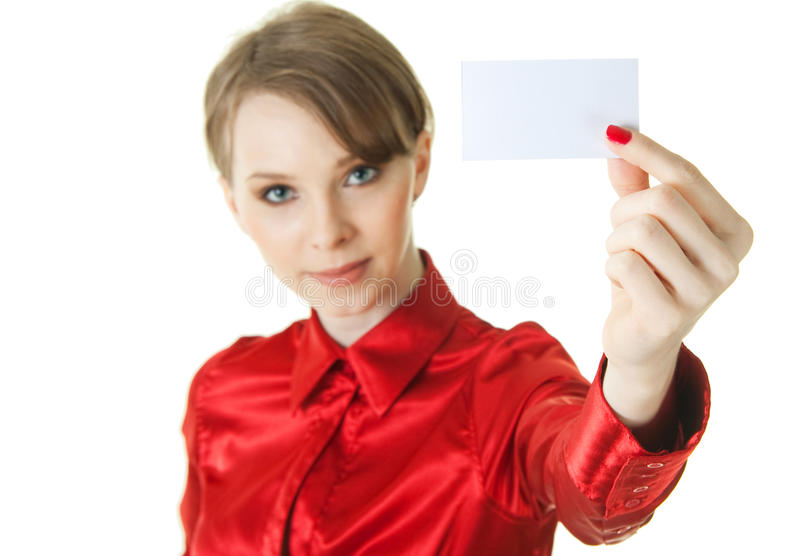 Jonge dame die lege kaart houdt stock afbeeldingen