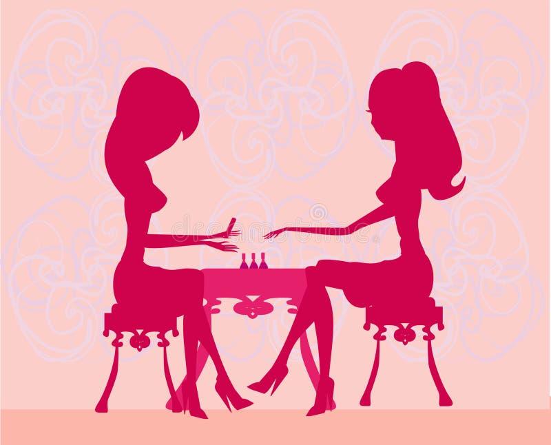 Jonge dame die manicure in schoonheidssalon doet royalty-vrije illustratie