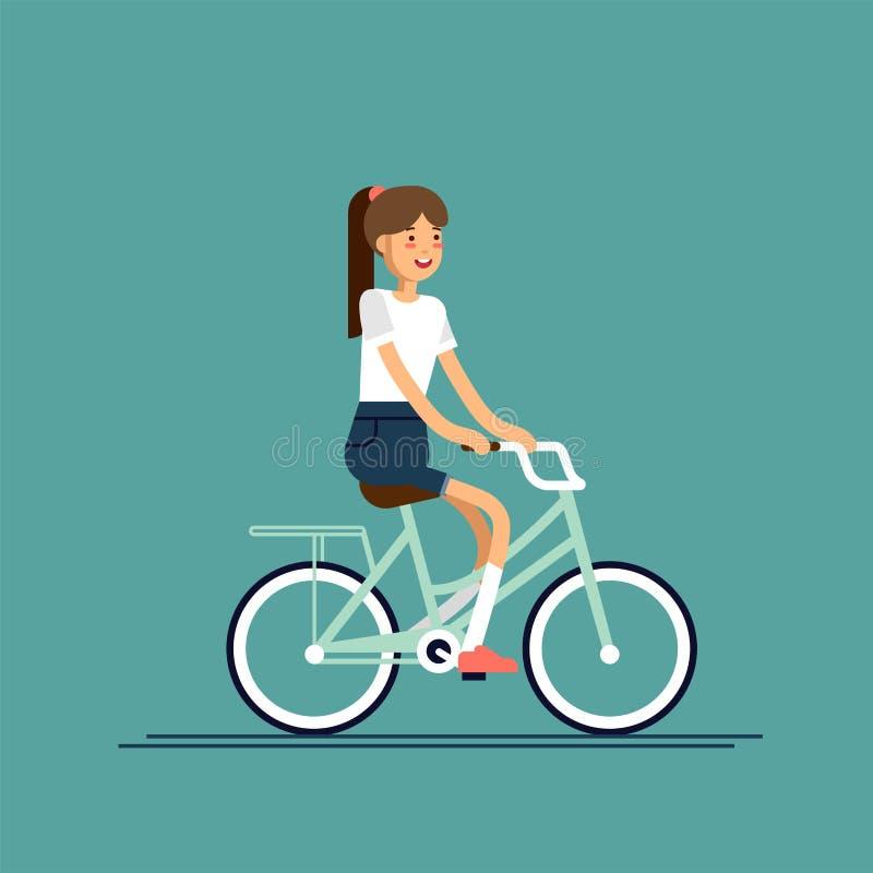 Jonge dame die pret berijdende fiets met mand van bloemen hebben Jong geitje die vrije tijd op weekend hebben De zomeronderbrekin stock illustratie