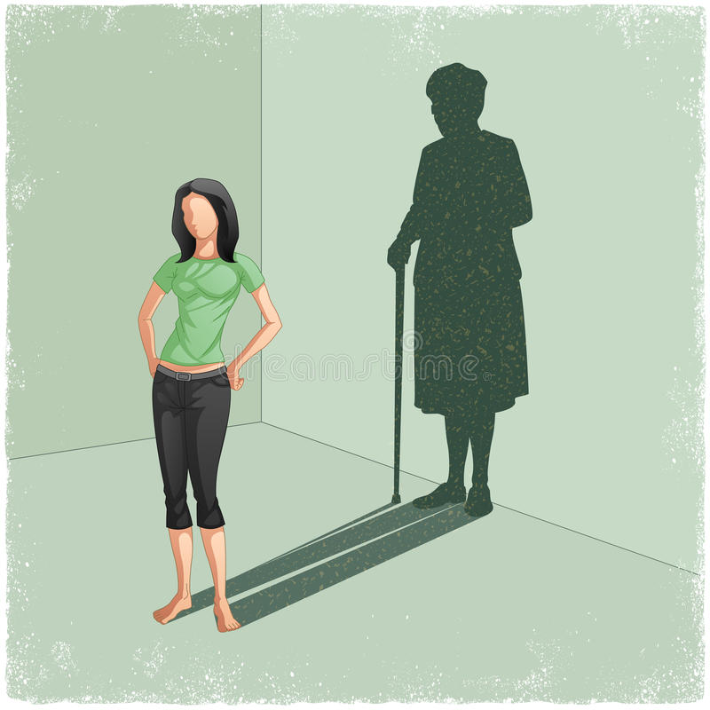 Jonge dame gietende schaduw van oude vrouw vector illustratie