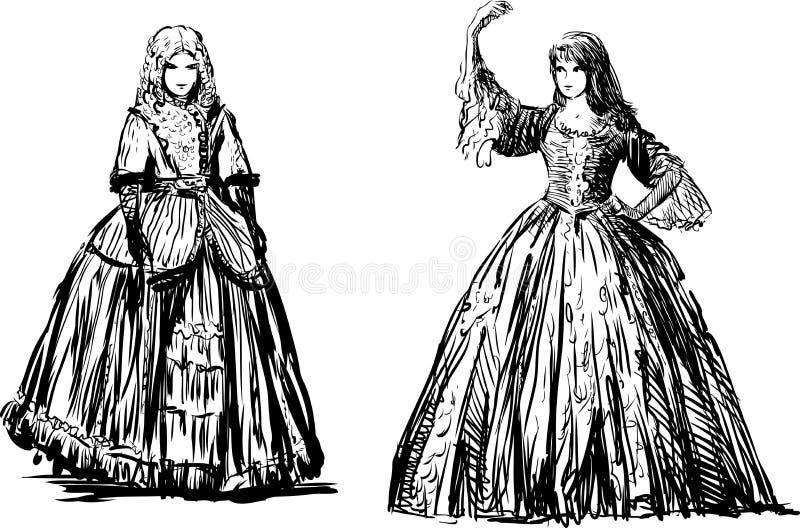 Jonge dames stock illustratie