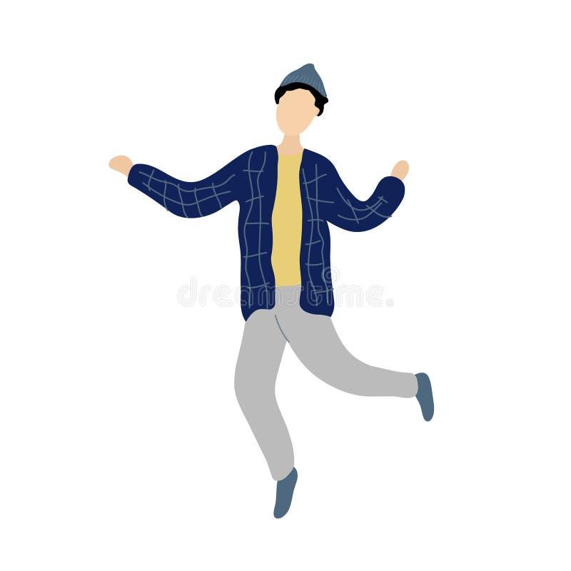 Jonge dansende uiterst kleine modieuze mens stock illustratie
