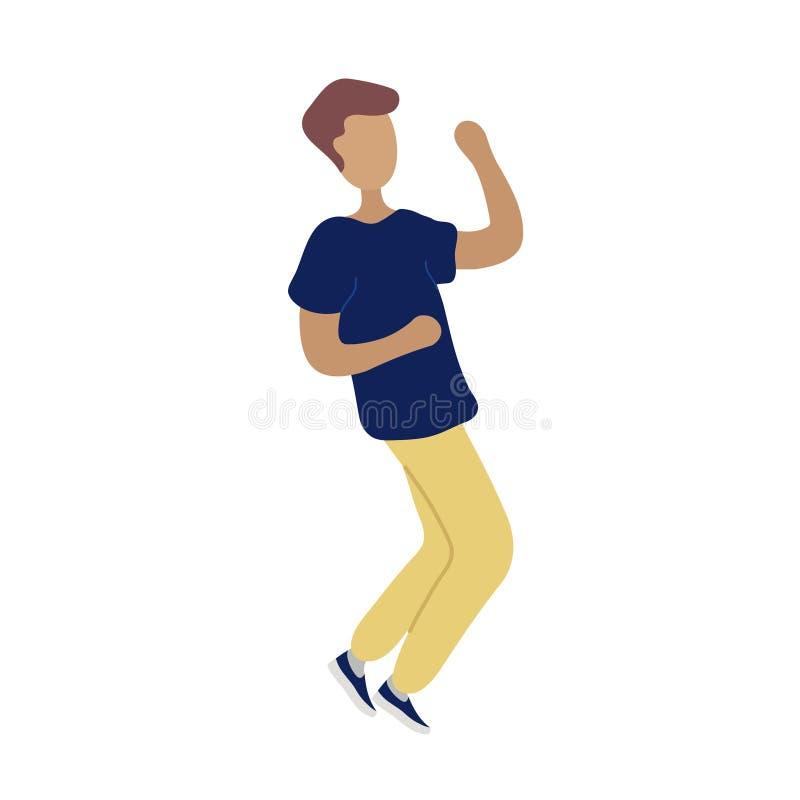Jonge dansende uiterst kleine modieuze mens vector illustratie