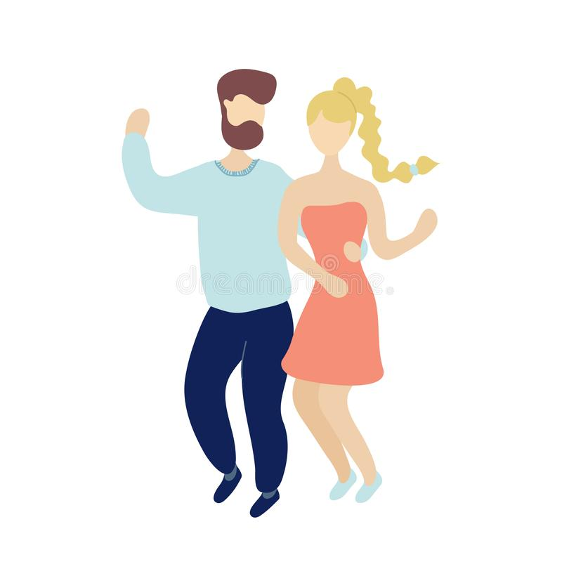 Jonge dansende uiterst kleine modieuze mensen vector illustratie