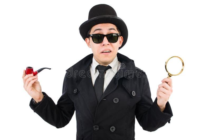 Jonge detective met pijp stock foto