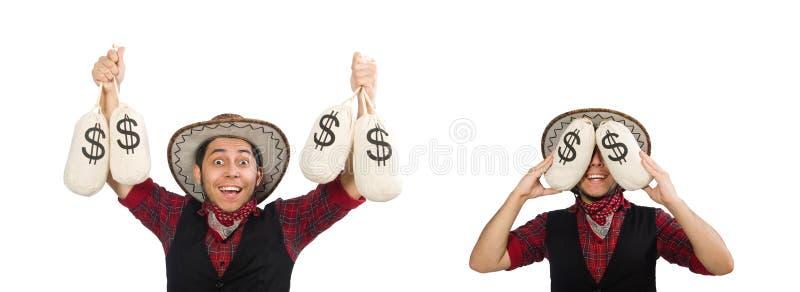 Jonge die cowboy met geldzakken op wit wordt ge?soleerd stock afbeelding