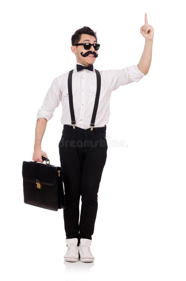 Jonge die mens met aktentas op wit wordt geïsoleerd stock afbeelding