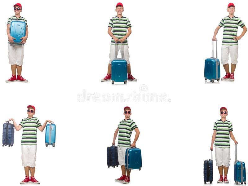 Jonge die mens met koffer op wit wordt ge?soleerd stock fotografie