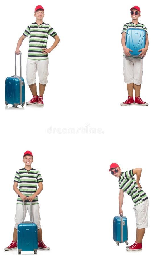 Jonge die mens met koffer op wit wordt ge?soleerd stock afbeelding