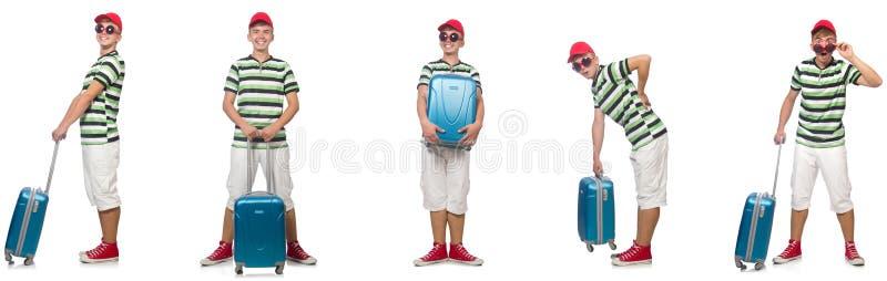 Jonge die mens met koffer op wit wordt ge?soleerd stock afbeeldingen