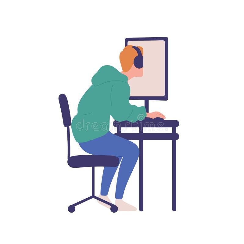 Jonge die mensenzitting bij computer op witte achtergrond wordt geïsoleerd Jongen met online gokkenobsessie, Internet-verslaving royalty-vrije illustratie
