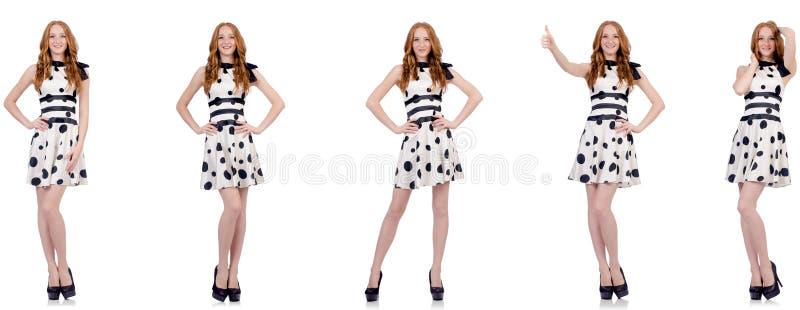 Jonge die vrouw in stipkleding op wit wordt ge?soleerd stock afbeeldingen