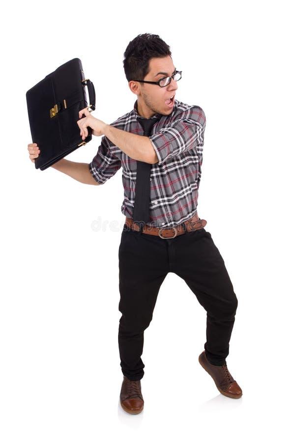 Jonge die werknemer met aktentas op wit wordt geïsoleerd stock fotografie