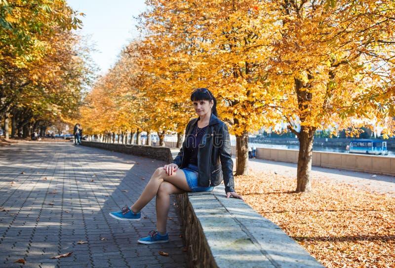 Jonge donkerbruine glimlachende vrouw op een gang in het park stock foto's