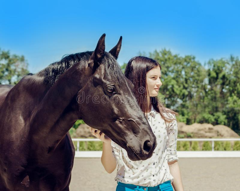 Jonge donkerbruine schoonheid die pret met paard hebben Zonnige dag, blauwe hemel als achtergrond Mooie vrouw en zwarte hengst royalty-vrije stock foto