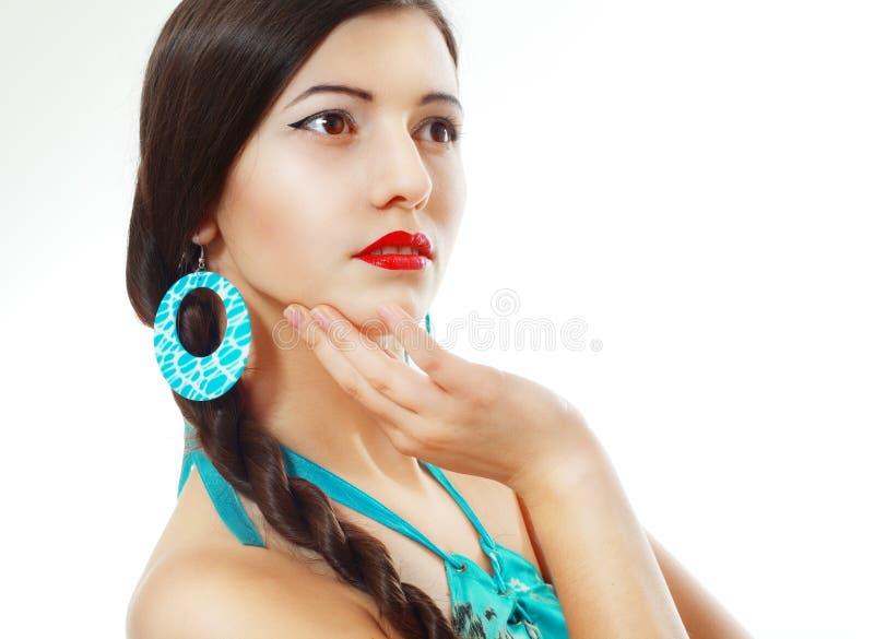 Jonge donkerbruine vrouw stock foto