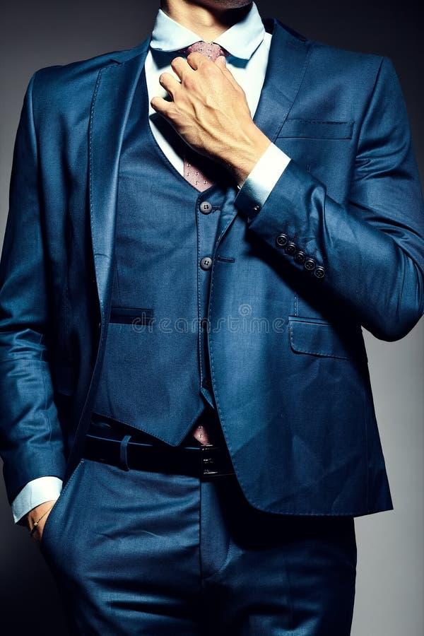 Jonge elegante knappe zakenman in een kostuum stock afbeelding