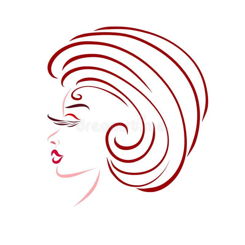 Jonge elegante vrouw met een creatief kapsel, glamour stock illustratie