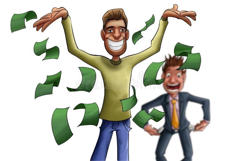 Jonge en gekke rijke man vector illustratie