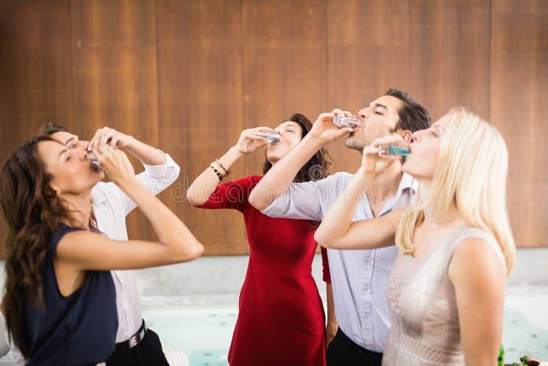 Jonge en knappe groep vrienden die schoten drinken royalty-vrije stock foto's