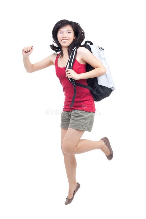 Jonge, energieke tiener die naar school terugkeren stock afbeeldingen
