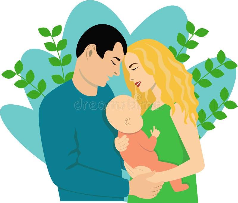 Jonge familie met een klein kind royalty-vrije illustratie