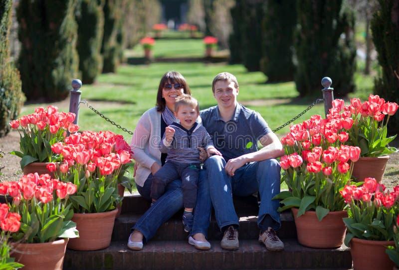 Jonge familie van drie in een tulpentuin royalty-vrije stock foto's
