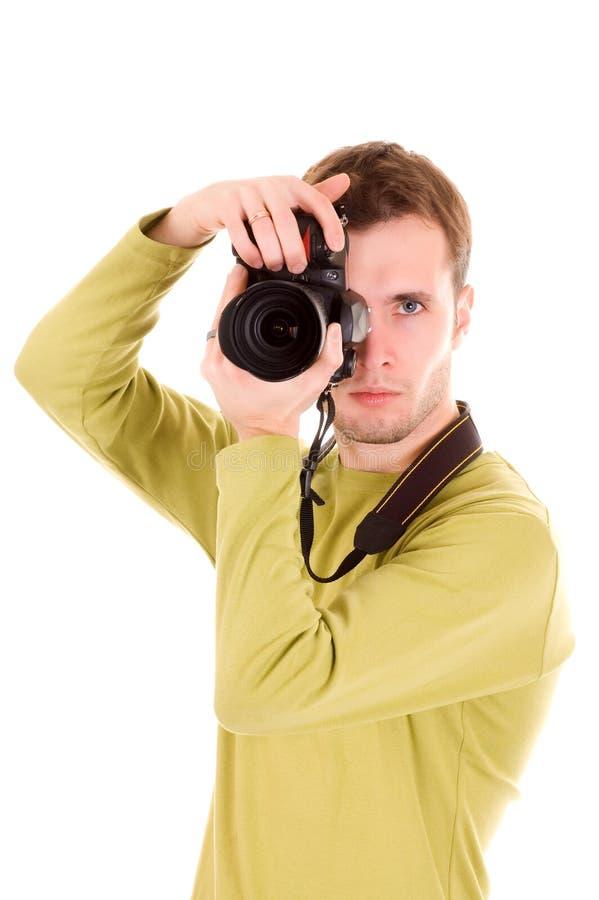 Jonge fotograaf (die op wit wordt geïsoleerdn) royalty-vrije stock fotografie