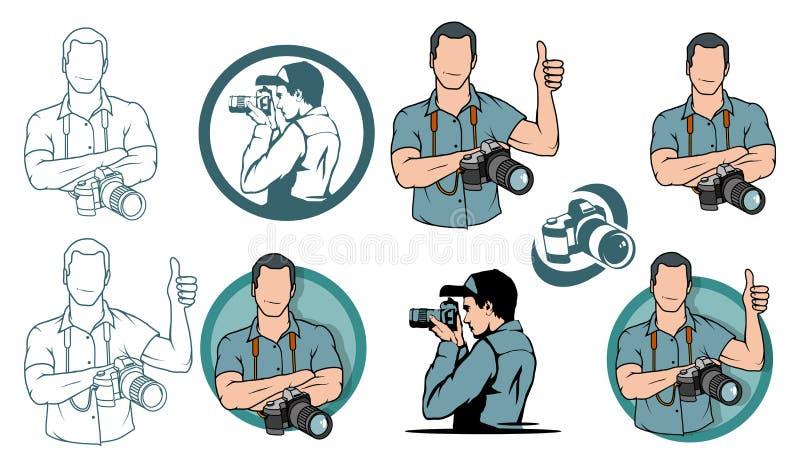 Jonge fotograaf, fotograaf met camera, fotograafembleem royalty-vrije stock afbeeldingen