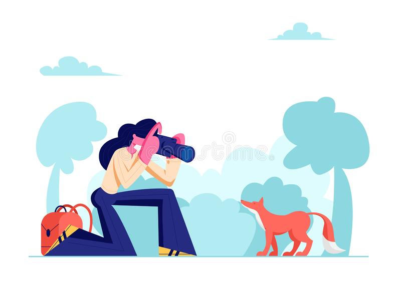 Jonge Fotograaf Woman Making Picture van Leuke Vos in Bos, Vrouwelijk Karakter die Rust op Aard, Openluchtactiviteit hebben royalty-vrije illustratie