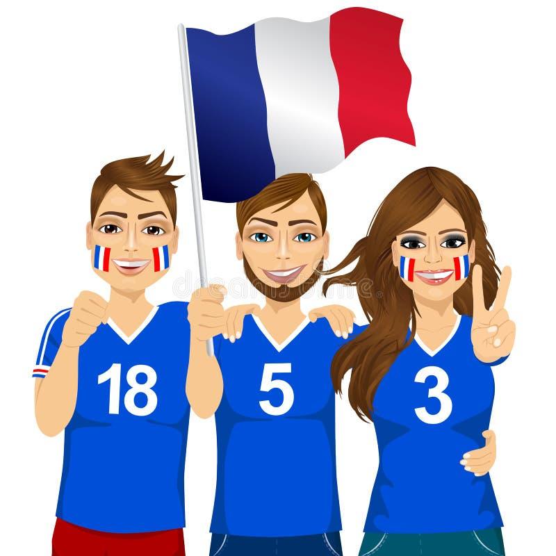 Jonge Franse voetbalventilators stock illustratie
