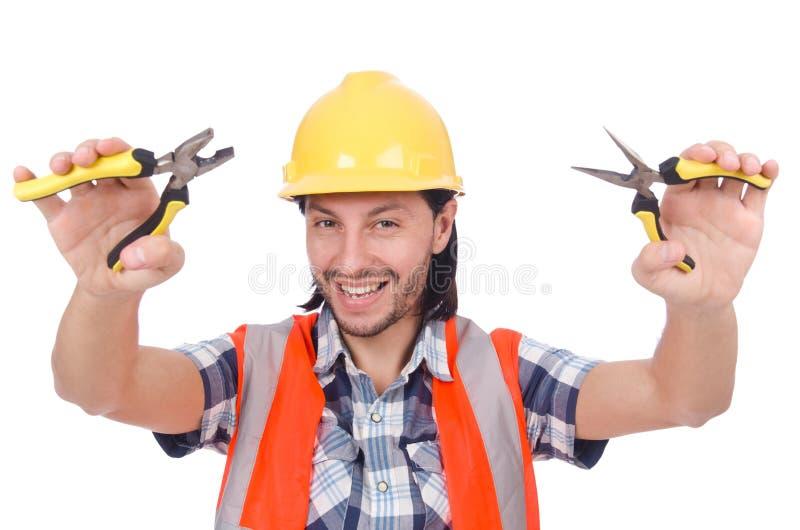 Jonge geïsoleerde bouwvakker met tangen royalty-vrije stock foto's