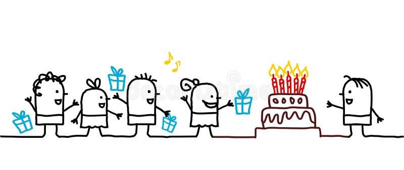 Jonge geitjes & verjaardag vector illustratie