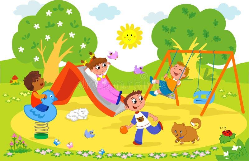 Jonge geitjes bij de speelplaats. stock illustratie